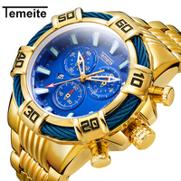 Temeite Brand Luxury Mens Watches Clock Chronograph Male Clock Full Steel Business Quartz Wrist Watch For Mens Relogio Masculino