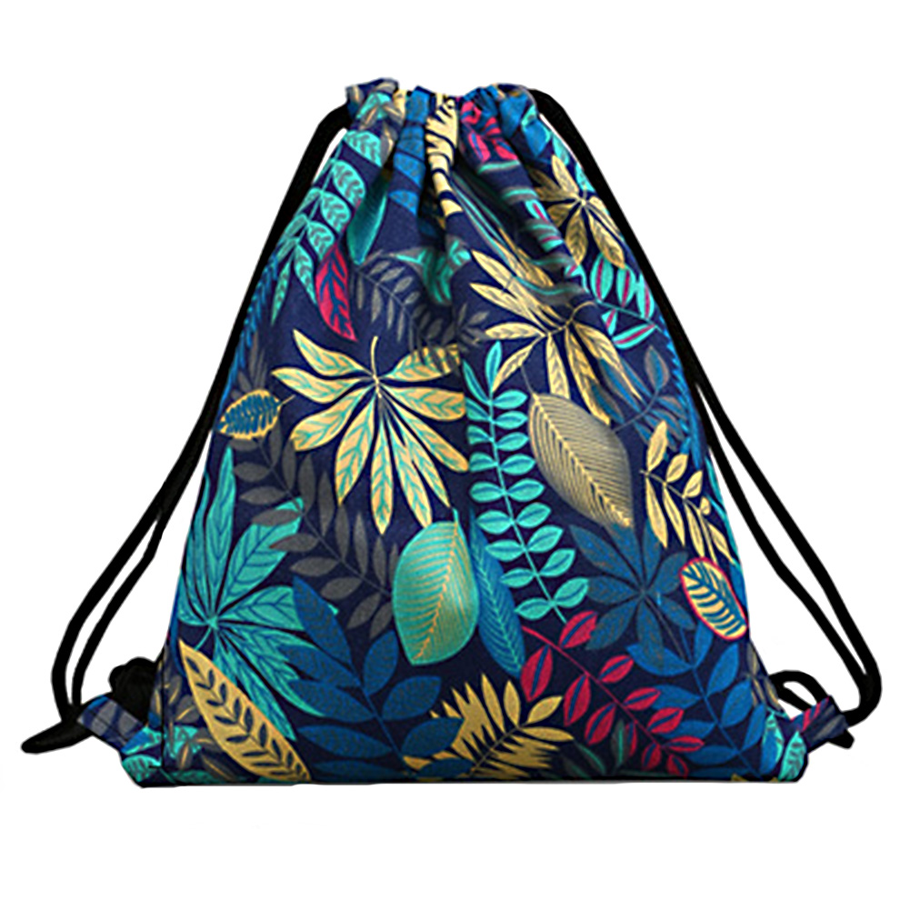 Women Outdoor Travel Shopping Sport Shoulder Canvas Pouch Organizer Portable Floral Print Shoes Drawstring Bag Storage Backpack