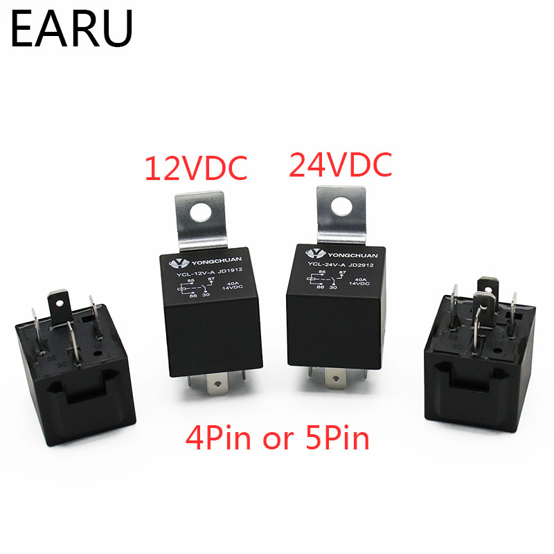 4 5 Pin 4P 5P 40A Waterproof Car Relay Long Life Automotive Relays Normally Open DC 12V/24V Relay For Head Light Air Conditioner