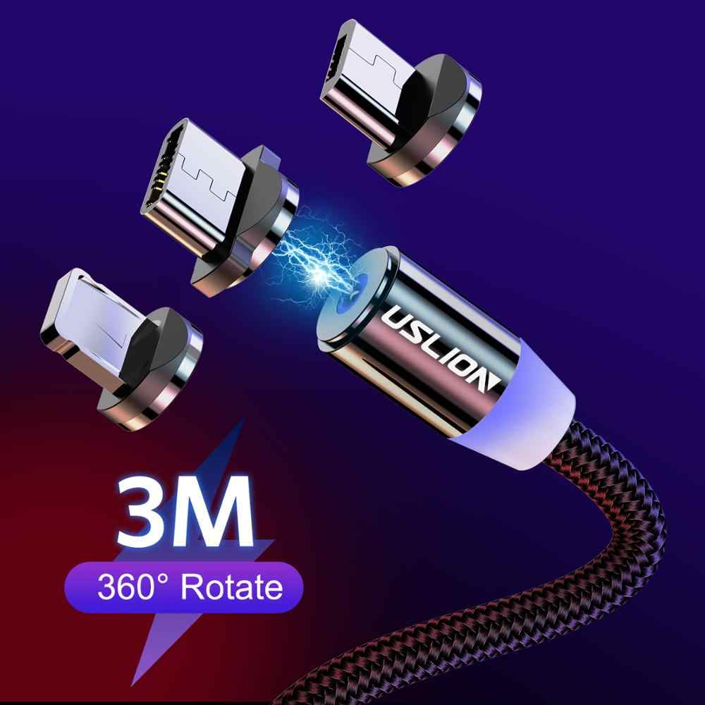 USLION USB Cable Fast Charging Magnetic USB Cable for iPhone Type C Charging Cable for Xiaomi Note 10 Micro USB Cable Magnetic