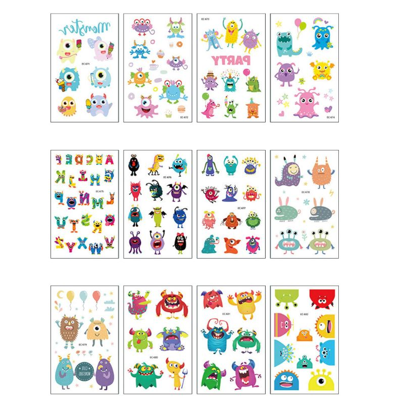 15Pcs Funny Personality Waterproof  Kids Tattoo Stickers Cartoon Monster Animal Sticker Children DIY Art Toys