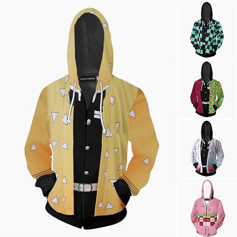 H7a27bd5b13114c3e9e80470b898d3fdag Jaqueta Demon slayer kimetsu no yaiba tanjirou nezuko zenitsu tomioka giyuu cosplay capuz traje anime casaco para festa de halloween