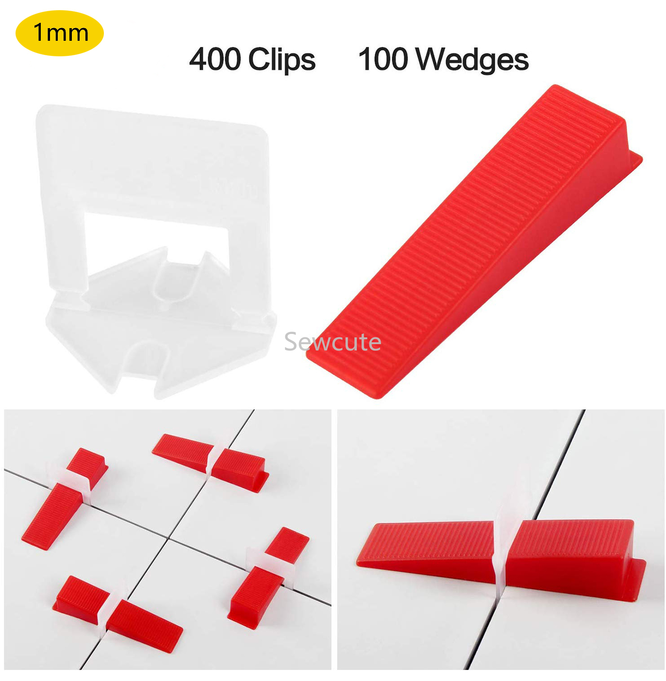 1mm Tile Leveling System 400pcs Clips + 100pcs Reusable Wedges Self Leveling Plastic Tile SpacersT Lock For Floor Wall Ceramics