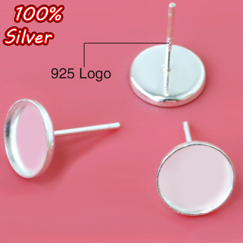 4pcs 925 Sterling Silve Stud Earrings Cabochon Blank Base Fit 6mm 8mm 12mm For Jewelry Making Accessories Wholesale Componet