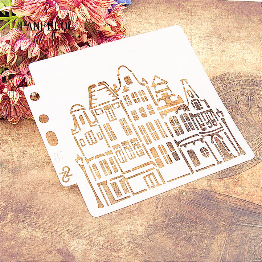 The Castle Scrapbook Stencils Spray Plastic Mold Shield DIY Cake Hollow Embellishment Printing Lace Ruler Valentine