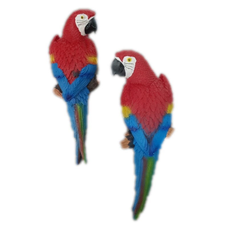 Resin Simulation Parrot Statue Wall Mounted DIY Outdoor Garden Tree Decoration Parrot Sculpture for Home Office Garden Decor Orn image
