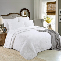 1Pc Bed Cover+2Pcs Pillowcases Crop Circles Bedspread Large Size White Bedding Set Double Bed Comfortable Quilt Quilting Blanket