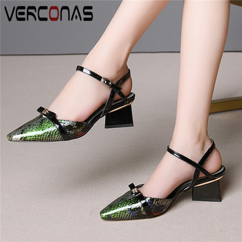 VERCONAS Women 2020 New Arrival Pointed Toe Sandals High Heeled Working Shoes Summer Genuine Leather High Quality Shoes Woman