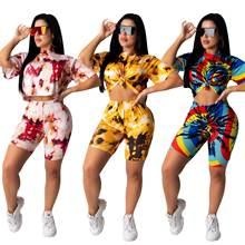 Женский спортивный костюм с принтом tie dye Повседневная футболка