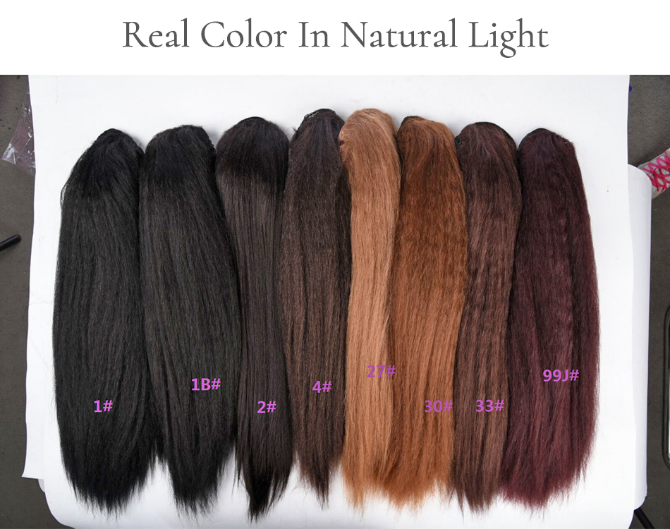 "H7a280e5998fd43fd86abf010b664eaa9F - Lydia Heat Resistant Synthetic 16""-24"" Kinky Straight Hair With Plastic Combs Drawstring Ponytail Extension All Colors Available"