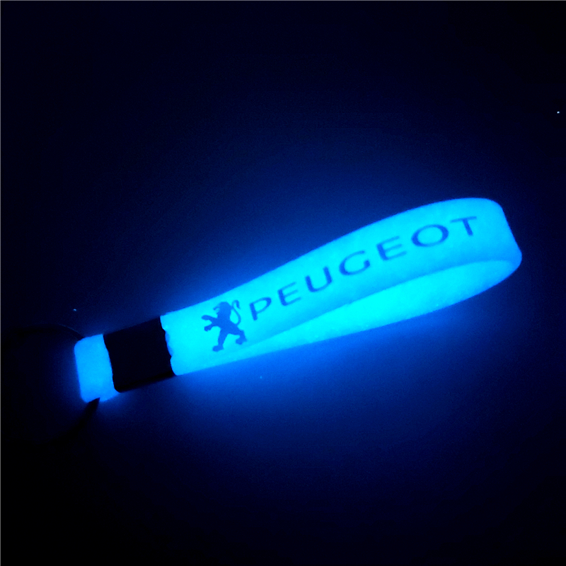Car Sticker Luminous Keychain Keyring Case For Peugeot 206 207 301 307 308 407 408 508 Auto Car Accessories Motorcycle
