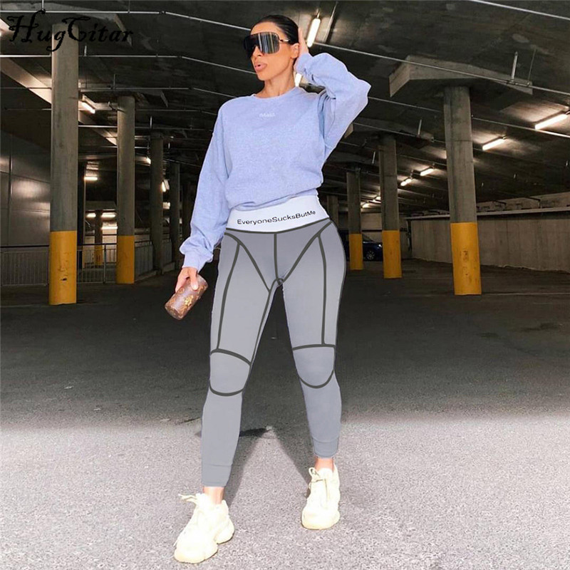 Hugcitar 2019 High Waist Letters Print Bodycon Leggings Autumn Winter Women Fashion Patchwork Striped Streetwear Sporty Pants
