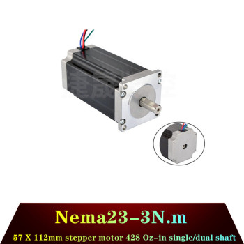 de ship free vat 4 pcs nema23 425oz in 2 8n m 112mm length single shaft stepper motor stepping motor 3a for cnc router engraving Fast shipping!NEMA23 stepper motor 57x112mm 4-lead 3N.m motor de passo 428Oz-in for 3D printer for CNC engraving milling machine