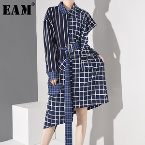 [EAM] Women Blue Plaid Irregular Big Size Shirt Dress New Lapel Long Sleeve Loose Fit Fashion Tide Spring Autumn 2020 1D75805