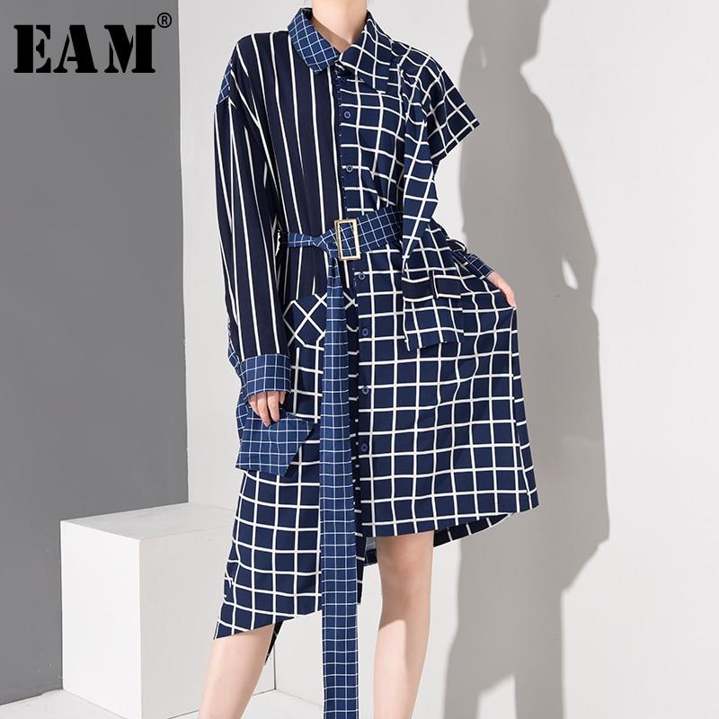 [Eem] kadınlar mavi ekose düzensiz büyük boy gömlek elbise yeni yaka uzun kollu gevşek Fit moda gelgit bahar sonbahar 2020 1D75805