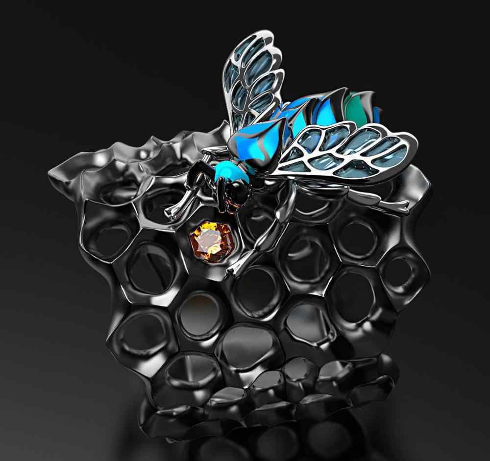 Übertrieben Gothic Stil Kreative Blau Epoxy Honeycomb Bee Ringe Punk Wolfram Schwarz Gold Cocktail Party Ring Schmuck Geschenk