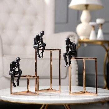 Black Man Sitting On A Triangular Metal Frame Thinking Ornaments Resin Craft Home Furnishing For Decor Office Desktop Figurines