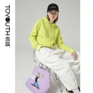 Image 1 - Toyouth 캔디 컬러 여성 후드 및 스웨터 형광 노란색 단색 긴 소매 후드 트랙 수트 여성상의
