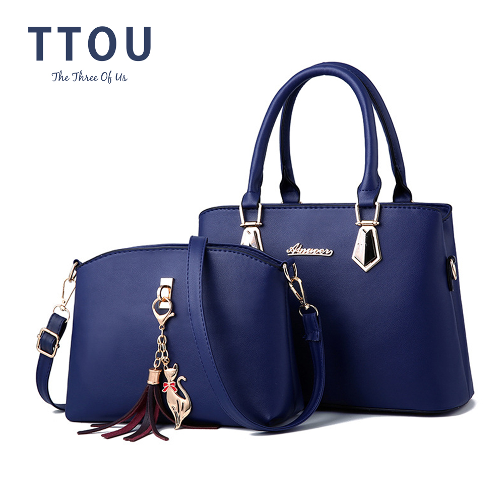 Fashion Brand Women Composite Bag Hotsale Party Purse Ladies Messenger Crossbody Shoulder Set Bags Tassels Kitten Ornament