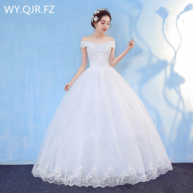 HMHS-090#White Boat Neck Bride Wedding Dress Ball Gown Lace Up Wholesale Party Dresses Luxury Sequins Free delivery some country 1