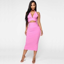 wholesale 2020 summer New Ladies suits Pink and khaki V-neck
