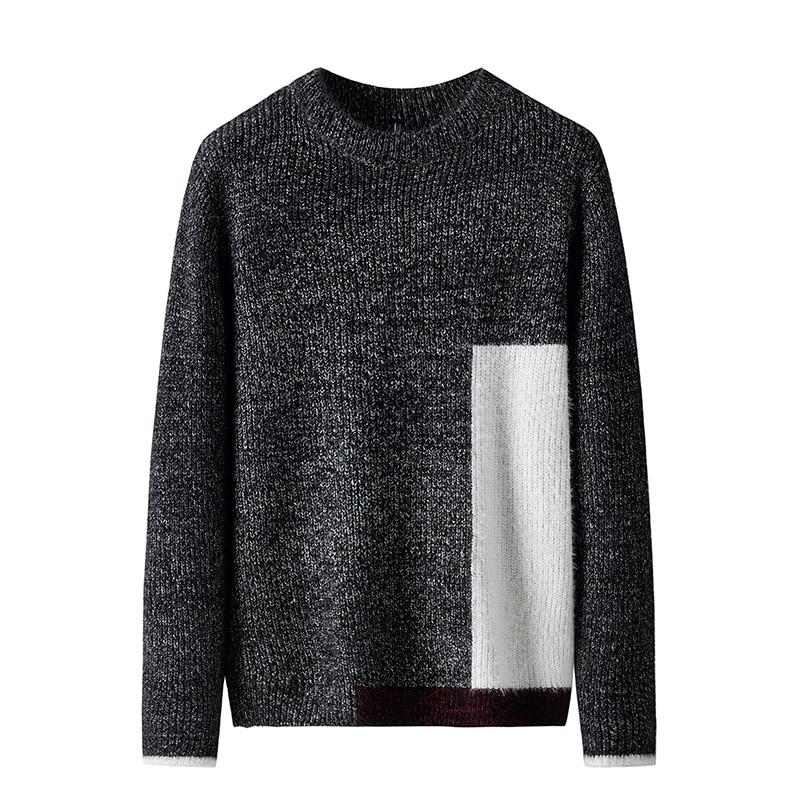 Sweater Men Patchwork O-neck Pullover Men Casual Sweater Male 2019 Christmas Pullover Men Black Burgundy Brown Men's Knit