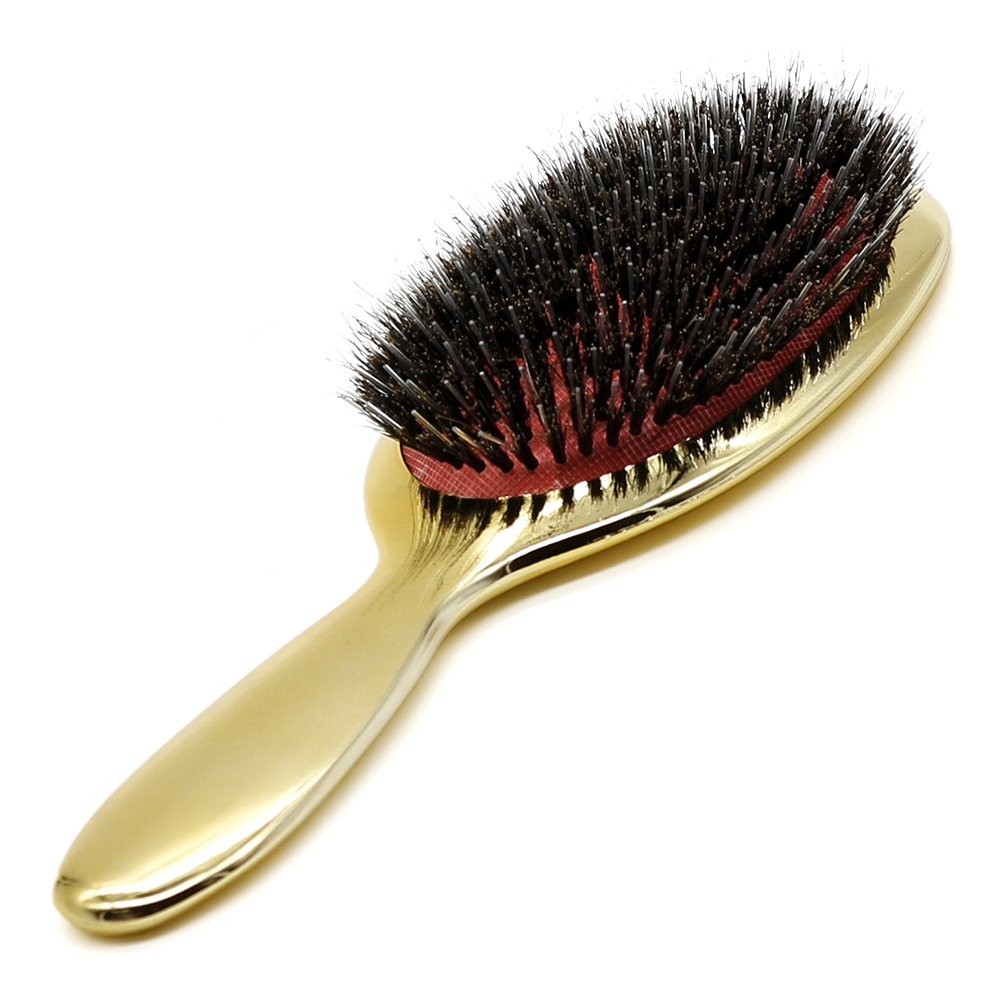 Luxury Gold And Silver Color Boar Bristle Paddle Hair Brush Massage Comb Oval Hair Brush Anti Static Hair Comb Hairdressing Tool