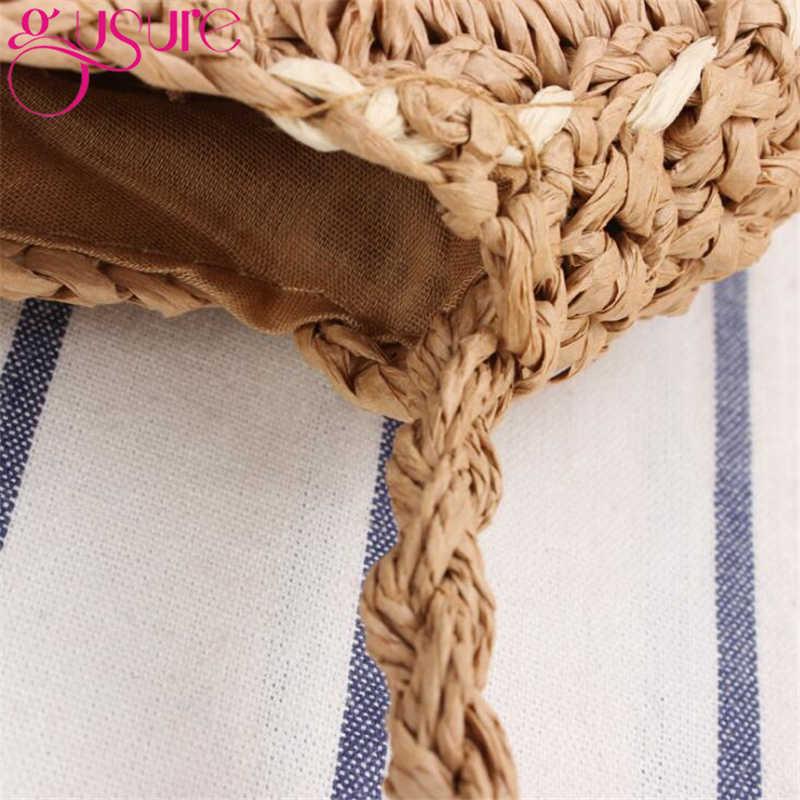 Gusure Handmade Bulat Stripe Tas Wanita Musim Panas Tas Jerami Rotan Anyaman Tas Messenger Beach Bohemian Rajutan Lingkaran Totes