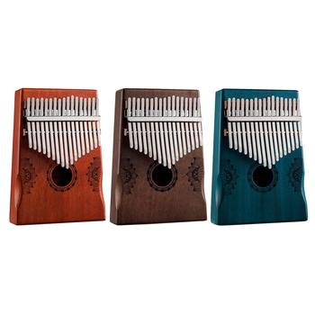 Przenośny 17-tone drewniane Kalimba kciuk fortepian 17-klucz drewniane kciuk fortepian Instrument muzyczny dla dzieci dorosłych dla początkujących tanie i dobre opinie CN (pochodzenie) 17-Key Wooden Thumb Piano Wooden Kalimba Mahogany Thumb Finger Piano