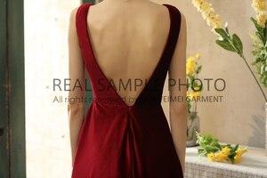 Image 3 - Simples veludo v pescoço sem costas chá comprimento vestido de noite vestido de baile 100% amostra real foto preço de fábrica
