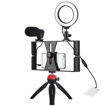 Andoer Dimmable Selfie Led Ring Fill Light With Cell Phone Holder & Tripod Stand Stabilizer & Microphone Ringlight Photography