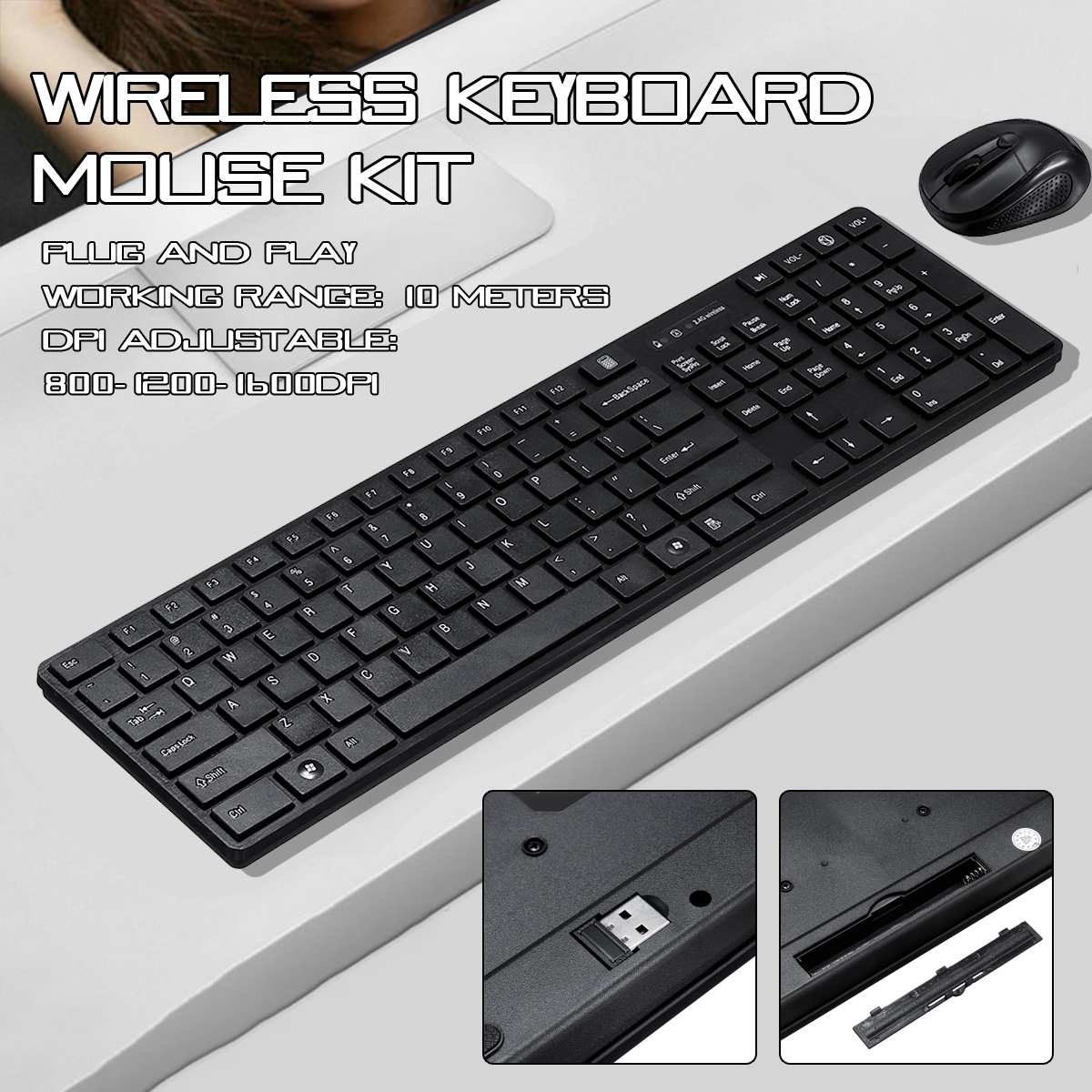 LEORY DPI Adjustable 2.4GHZ Wireless Keyboard Mouse Kit Chocolate Keycaps USB Plug and Play <font><b>Gaming</b></font> Household Office