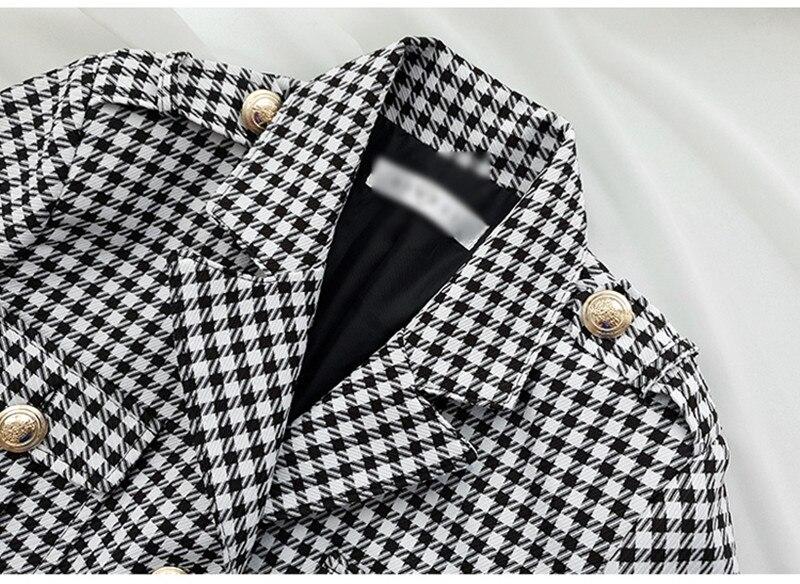 Fashion Office Ladies Plaid Suit Slim Fit Autumn Winter New 2 pcs Blazer Suits Vintage Business Work Outfits Ensemble Femme 6