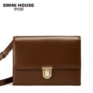 Image 2 - EMINI HUIS Hangslot Crossbody Tassen Voor Vrouwen Luxe Handtassen Vrouwen Tassen Designer Split Lederen Vrouwen Messenger Bag Dames Portemonnee