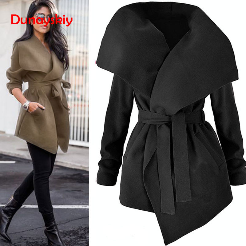 Elegant Solid Wool And Blends Coats Women High Fashion Waist Bow Wrap Belt Coat Feminino Mid Length Autumn Winter Slim Coats