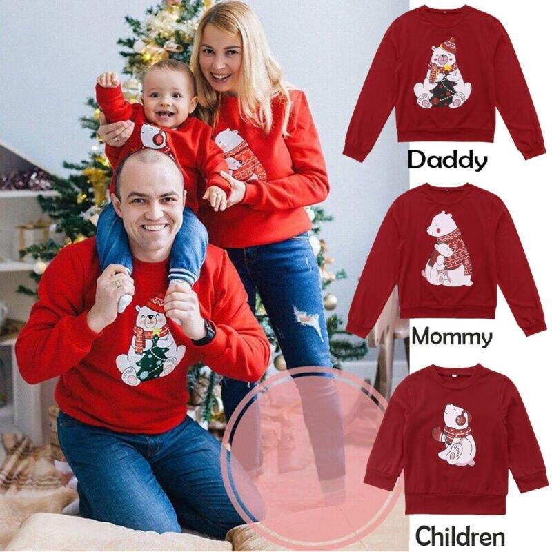 Christmas Family Matching Women Men Kids Sweatshirt Hoodies Sweater Xmas Santa Red Long Sleeve Autumn Winter Top T-shirt