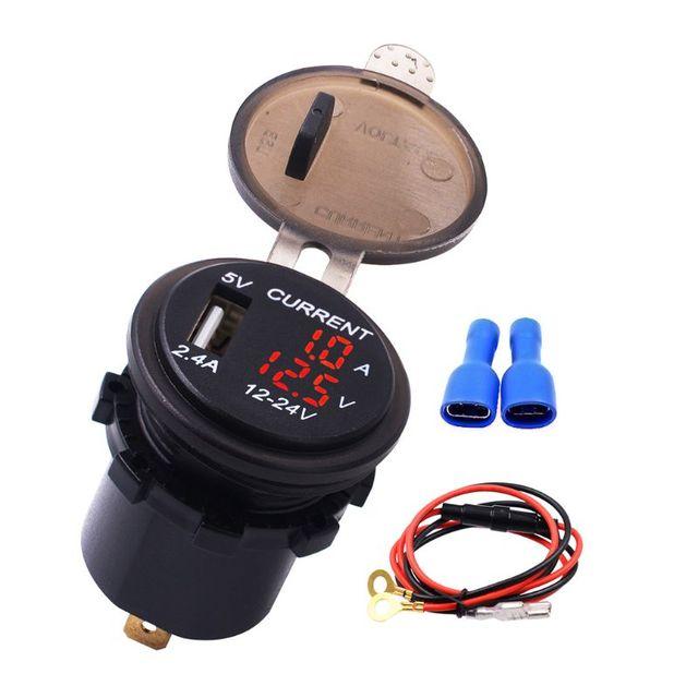 Nueva toma de corriente del adaptador del enchufe del cargador del USB de 5V a con voltímetro de la pantalla de corriente del voltaje para 12 24V coche barco camión motocicleta