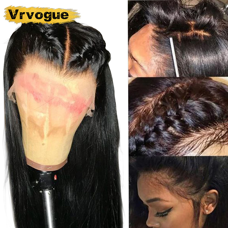 Wig Human-Hair-Wigs Lace-Frontal Vrvogue-Hair Straight Pre-Plucked Peruvian 13X4