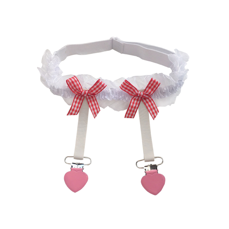 1Pcs Fashions Women Sexy Lace Suspenders Japanese Lolita Heart Buckle Thigh-Highs Bow Lace Punk Gothic Garter Belt For Stockings