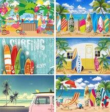 Yaz Surfboard kamp plaj partisi fotoğraf Backdrop palmiye Seaside tropikal hawaii adası araba barbekü tatil arka plan