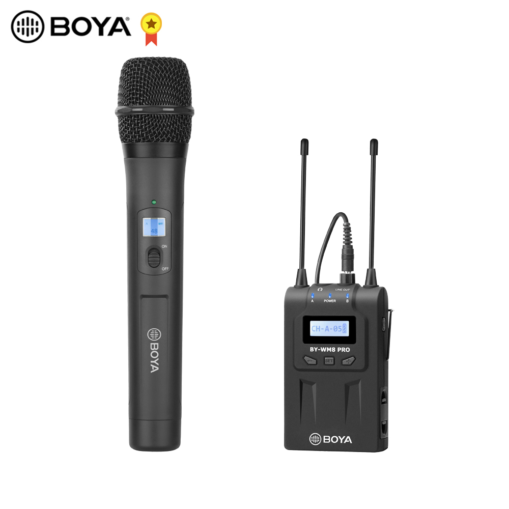 Boya Handheld Wireless Microphone Kit System Dual Channel Uhf 48