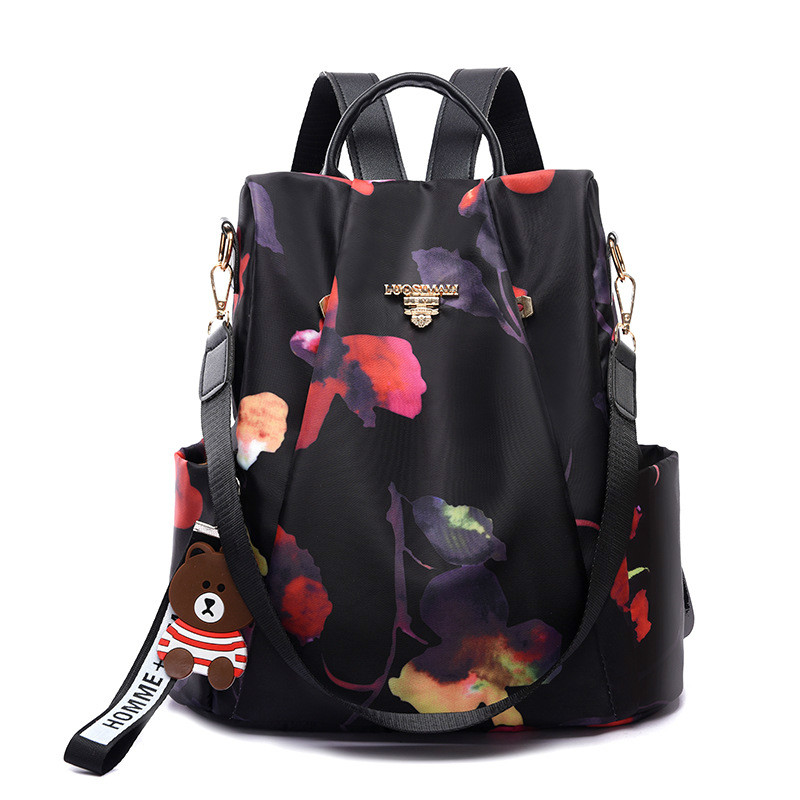 Anti-theft Backpack Female 2019 New Fashion Oxford Cloth Waterproof Ladies Backpack Printing Travel Bag