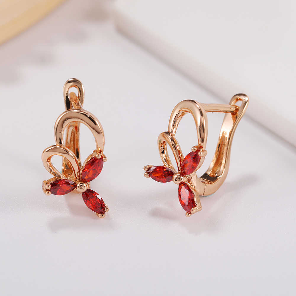 2019 New 585 Rose Gold Earring White Red Black Blue Natural Zircon Wedding Party Fine Jewelry Women Short Dangle Earrings Gift