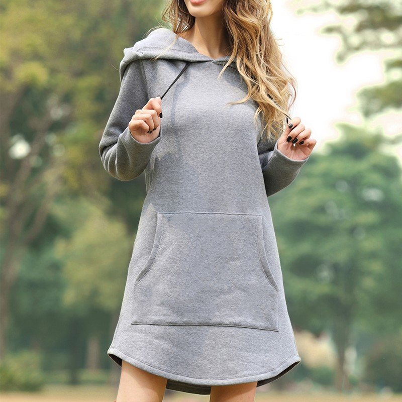 New Spring Autumn Hot Sales Women Sweatshirts Plus Size Casual Loose Solid Hooded MD-Long Style Sweatshirt For Women Hoodies 3XL 3