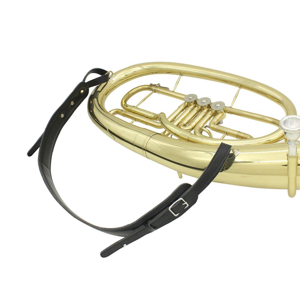 Adjustable Black Luxury  Soft Leather Tuba Strap For Woodwinds Brass Musical  Instruments Woodwinds Accessories
