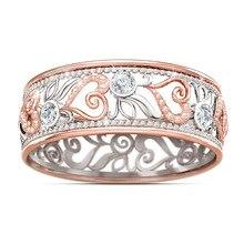 Nuevo anillo de regalo de compromiso de boda de dama de joyería de oro rosa flor corazón hueco amor eterno brillante Vintage
