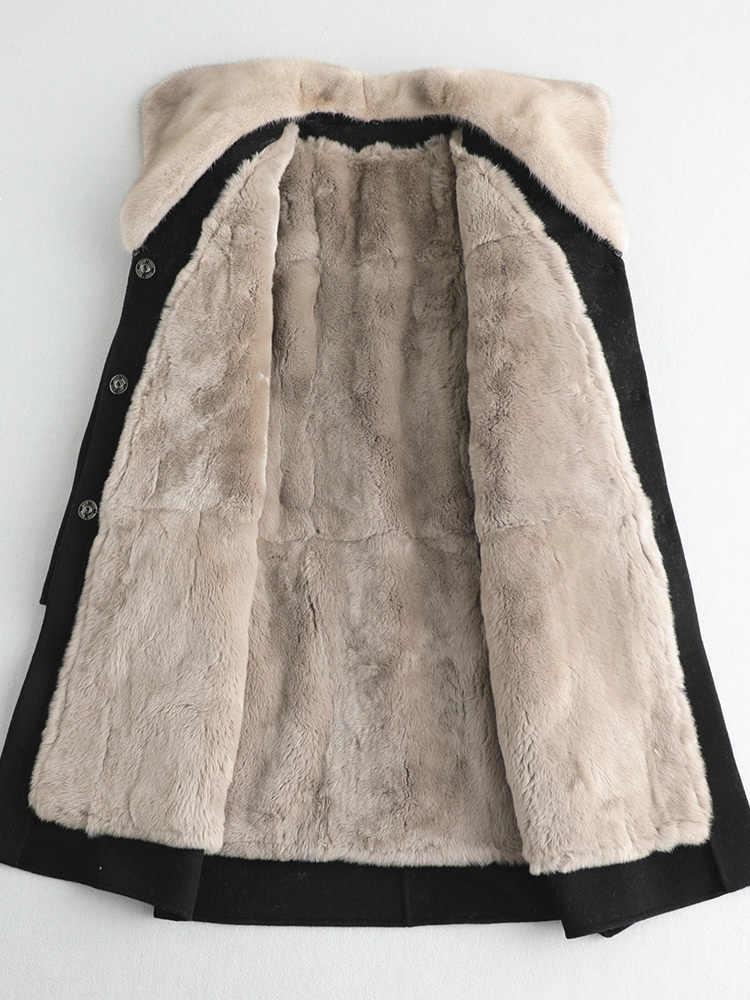 Abrigo de piel Real para mujer chaqueta de lana 100% Cuello de piel de visón otoño invierno abrigo para mujer ropa 2020 forro de piel de perro mapache ZT4745