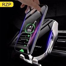 Cargador inalámbrico para coche RZP 10W Qi para iPhone Xs Max X Samsung S10 S9 carga rápida inalámbrica automática inteligente sostenedor del teléfono del coche