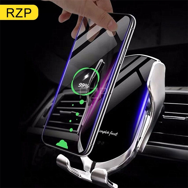RZP 10W Qi автомобильное беспроводное зарядное устройство для iPhone Xs Max X samsung S10 S9 быстрая Беспроводная зарядка автоматический интеллектуальный автомобильный держатель телефона
