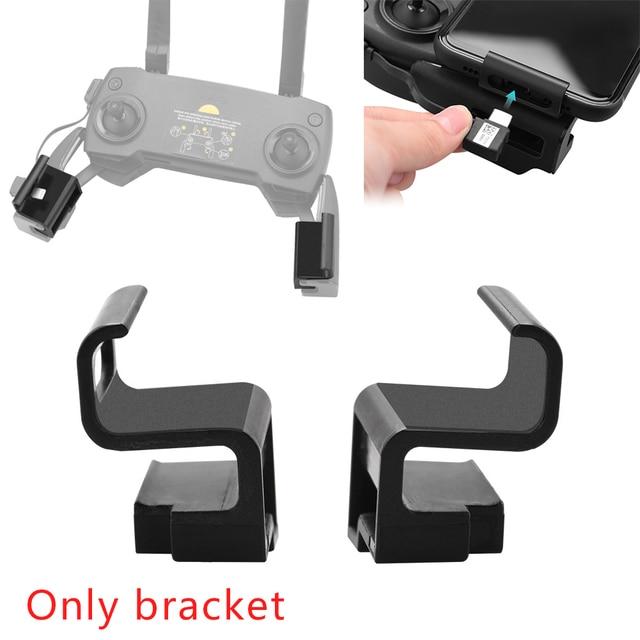 2 pçs esquerda direita zangão controle remoto telefone titular clipe de montagem ampliar fácil instalar rc peças suporte abs para mavic 2 pro